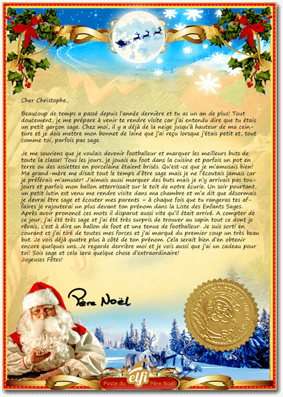 Recevoir Une Lettre Personnalisee Du Pere Noel Elfi Santa